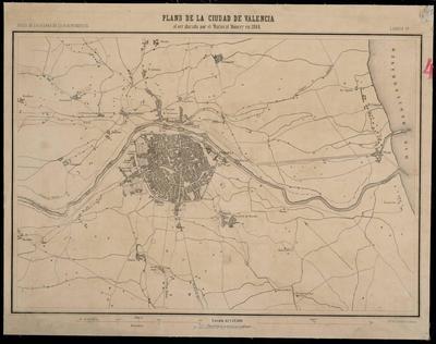 Plano de la ciudad de Valencia al ser atacada por el mariscal Moncey en 1808