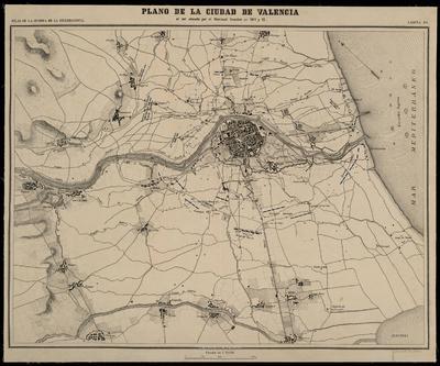 Plano de la ciudad de Valencia al ser atacada por el mariscal Souchet en 1811 y 12