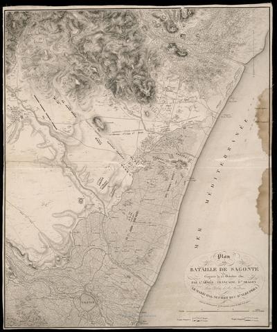 Plan de la Bataille de Sagonte : gagnée le 25 Octobre 1811, par l'Armée Francaise d'Aragon Aux Odres de Son Excellence Le Maréchal Suchet Duc d'Albufera