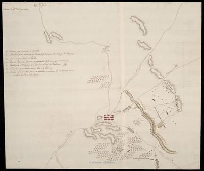 [Croquis de Castalla y sus alrededores que indica las distintas fases de la acción de la Sección de Infanteria de la Vanguardia frente a los franceses]