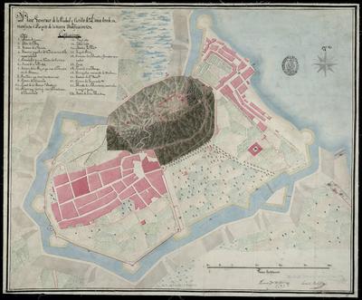 Plano Geométrico de la Ciudad y Castillo de Denia donde se manifiesta el Proyecto de la nueva Fortificación