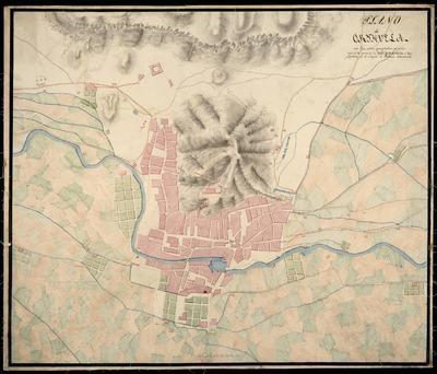 Plano de Oryhuela : con las obras egecutadas al principio de la guerra de la Independencia y las proyectadas por el Yngeno. D. Antonio Benavides