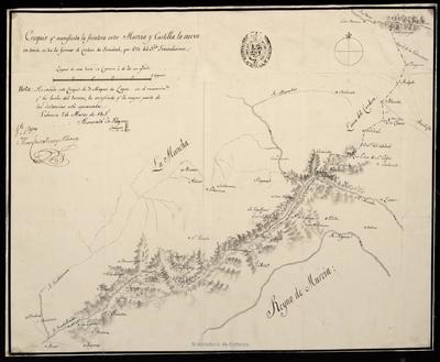 Croquis que manifiesta la frontera entre Murcia y Castilla la nueva en donde se ha de formar el Cordon de Sanidad, por Orn del Sr. Generalisimo