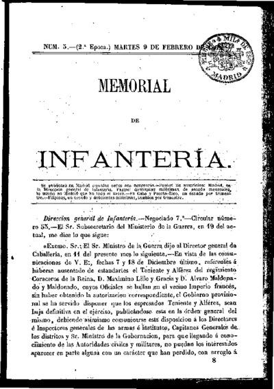 Memorial de infantería: Época 2 Número 5 - febrero 1869