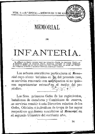 Memorial de infantería: Época 2 Número 9 - marzo 1869