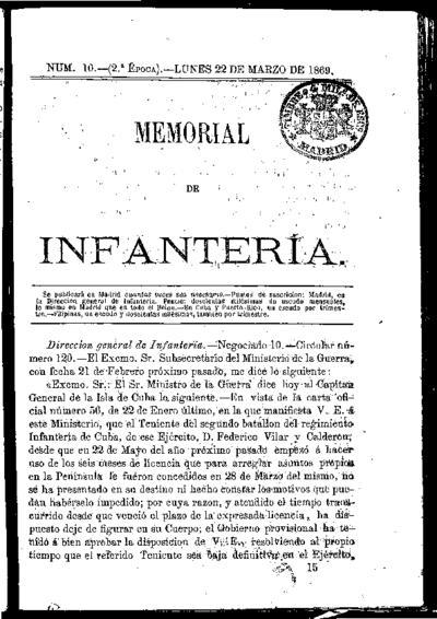 Memorial de infantería: Época 2 Número 10 - marzo 1869