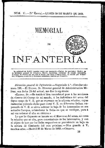 Memorial de infantería: Época 2 Número 11 - marzo 1869
