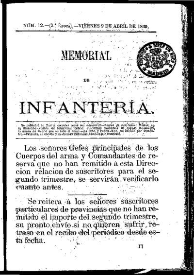 Memorial de infantería: Época 2 Número 12 - abril 1869