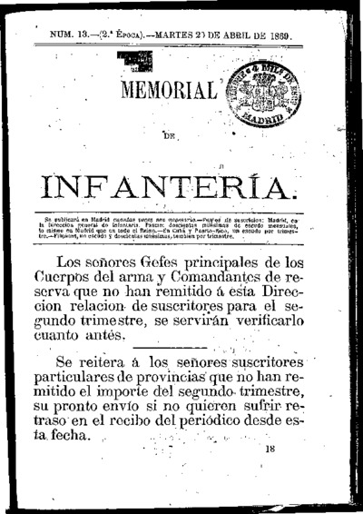 Memorial de infantería: Época 2 Número 13 - abril 1869