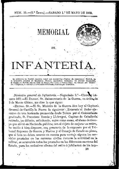 Memorial de infantería: Época 2 Número 15 - mayo 1869