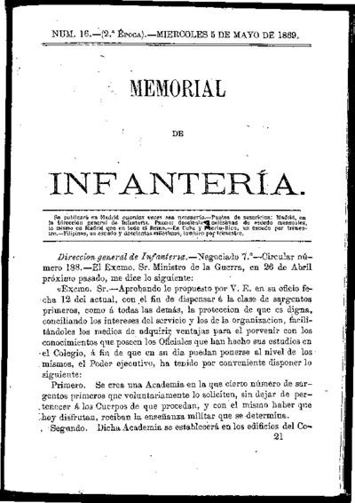 Memorial de infantería: Época 2 Número 16 - mayo 1869