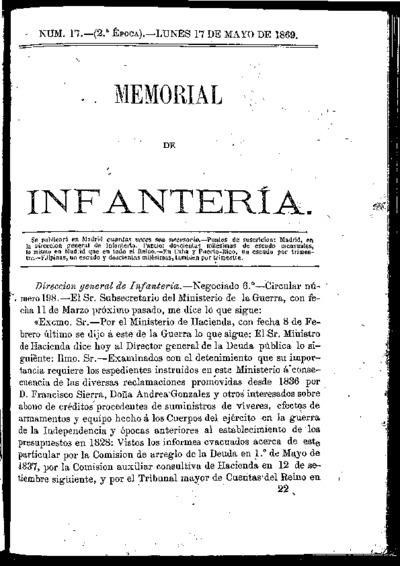 Memorial de infantería: Época 2 Número 17 - mayo 1869