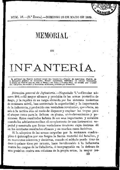 Memorial de infantería: Época 2 Número 18 - mayo 1869