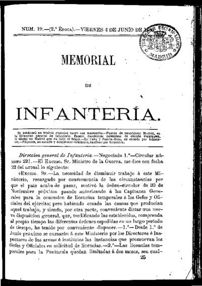 Memorial de infantería: Época 2 Número 19 - junio 1869