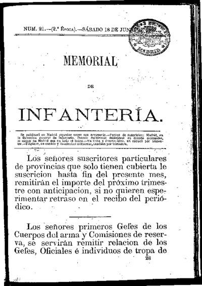 Memorial de infantería: Época 2 Número 21 - junio 1869