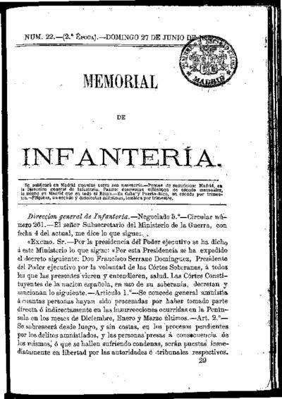 Memorial de infantería: Época 2 Número 22 - junio 1869