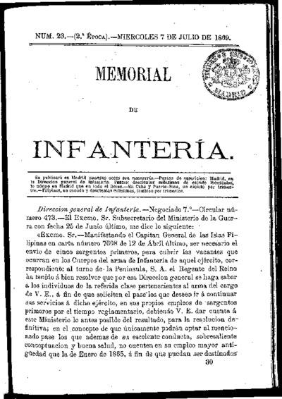 Memorial de infantería: Época 2 Número 23 - julio 1869