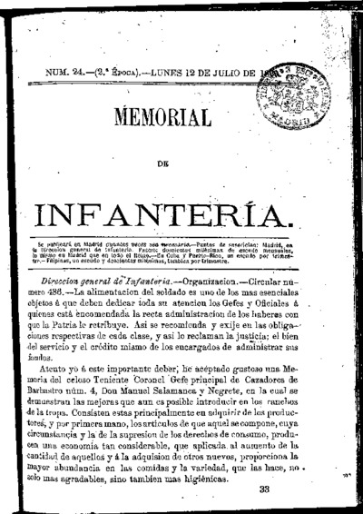Memorial de infantería: Época 2 Número 24 - julio 1869