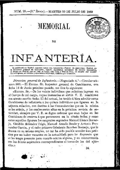 Memorial de infantería: Época 2 Número 25 - julio 1869