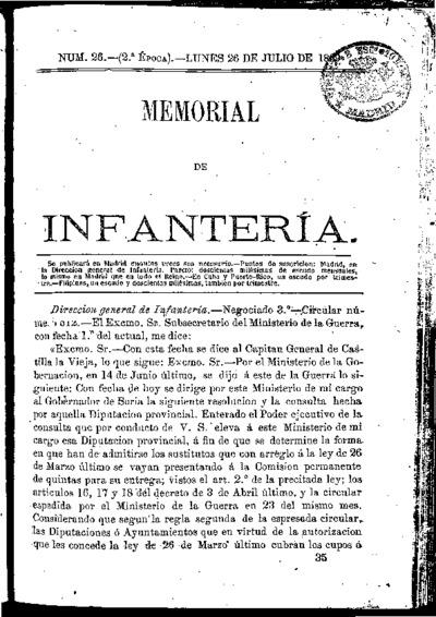 Memorial de infantería: Época 2 Número 26 - julio 1869