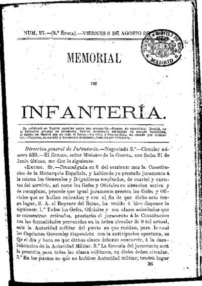 Memorial de infantería: Época 2 Número 27 - agosto 1869