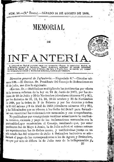 Memorial de infantería: Época 2 Número 28 - agosto 1869