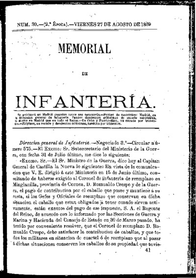 Memorial de infantería: Época 2 Número 30 - agosto 1869