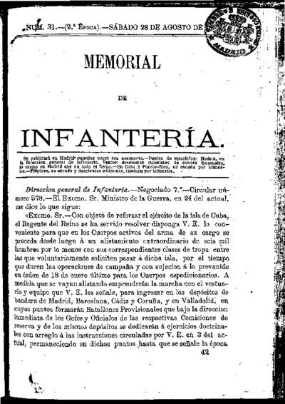 Memorial de infantería: Época 2 Número 31 - agosto 1869