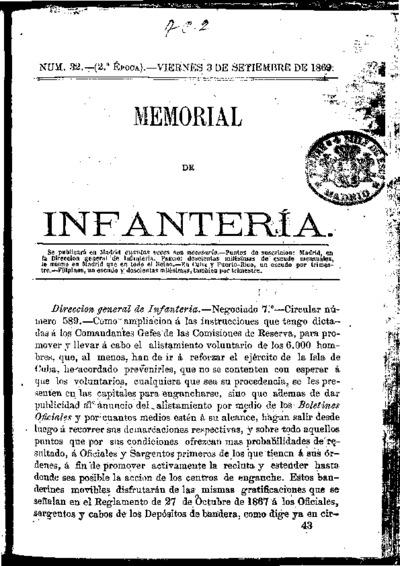 Memorial de infantería: Época 2 Número 32 - septiembre 1869