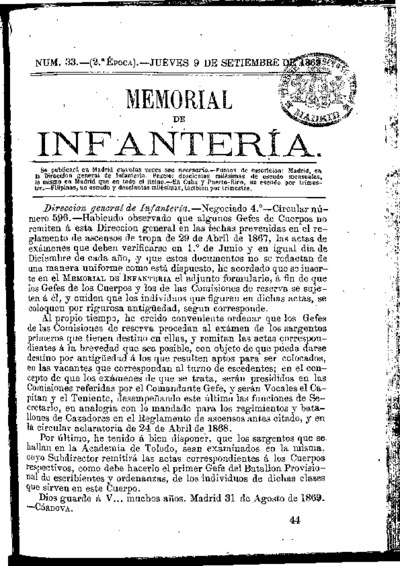 Memorial de infantería: Época 2 Número 33 - septiembre 1869