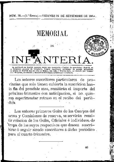 Memorial de infantería: Época 2 Número 35 - septiembre 1869