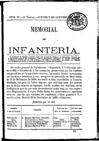 Memorial de infantería: Época 2 Número 36 - octubre 1869