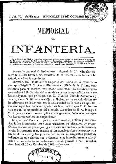 Memorial de infantería: Época 2 Número 37 - octubre 1869