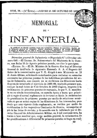Memorial de infantería: Época 2 Número 38 - octubre 1869