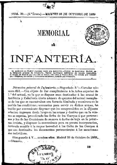 Memorial de infantería: Época 2 Número 39 - octubre 1869