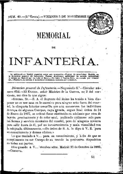 Memorial de infantería: Época 2 Número 40 - noviembre 1869