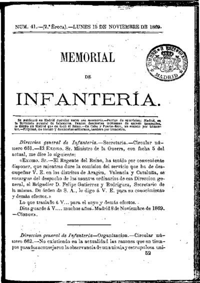 Memorial de infantería: Época 2 Número 41 - noviembre 1869