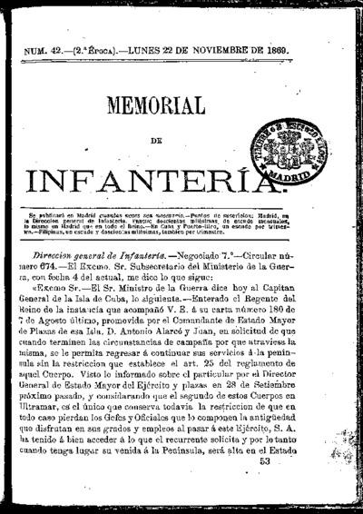 Memorial de infantería: Época 2 Número 42 - noviembre 1869