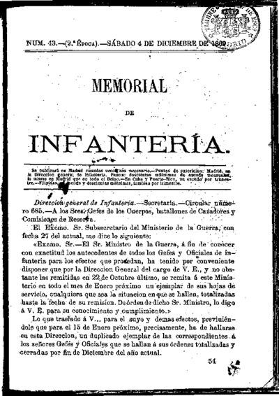 Memorial de infantería: Época 2 Número 43 - diciembre 1869