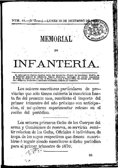 Memorial de infantería: Época 2 Número 44 - diciembre 1869