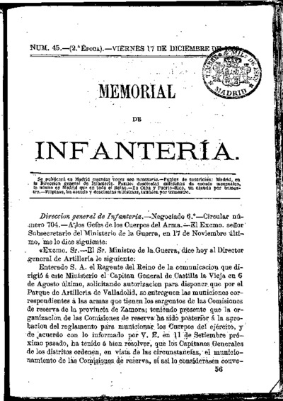Memorial de infantería: Época 2 Número 45 - diciembre 1869