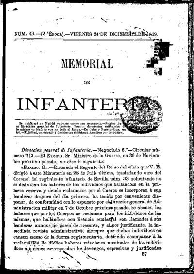 Memorial de infantería: Época 2 Número 46 - diciembre 1869