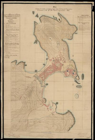 Plano de la plaza de la Coruña y sus inmediaciones hásta la distancia de 20 [...] pies : copiado del que existe en ésta Comandancia, su autor D. José Velarde, sin fecha, en el año de 1812