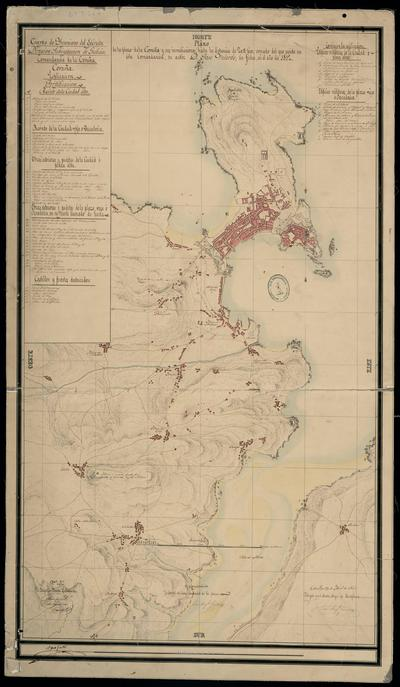 Plano de la plaza de la Coruña y sus inmediaciones, hasta la distancia de 20 [...] pies : copiado del que existe en ésta Comandancia, su autór D. Jose Velarde, sin fecha, en el año de 1812