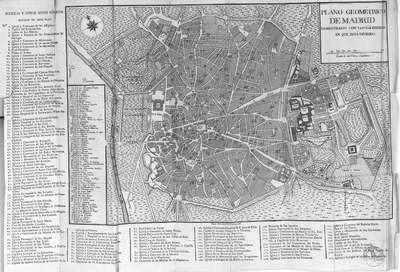 Plano geométrico de Madrid demostrado con los 64 barrios en que esta dividido [Material cartográfico]