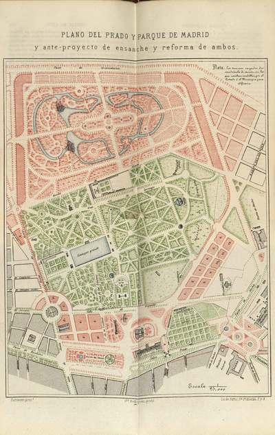 Plano del Prado y Parque de Madrid y anteproyecto de ensanche y reforma de ambos [Material cartográfico]