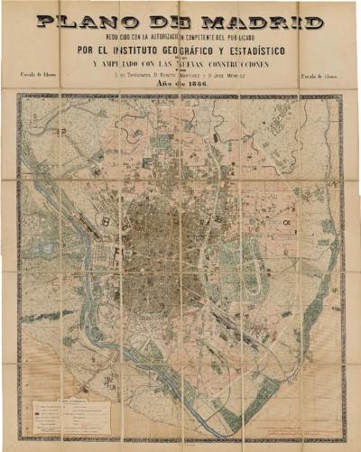 Plano de Madrid : reducido con la autorización competente del publicado por el Instituto Geográfico y Estadístico en 1877 y ampliado con las nuevas construcciones