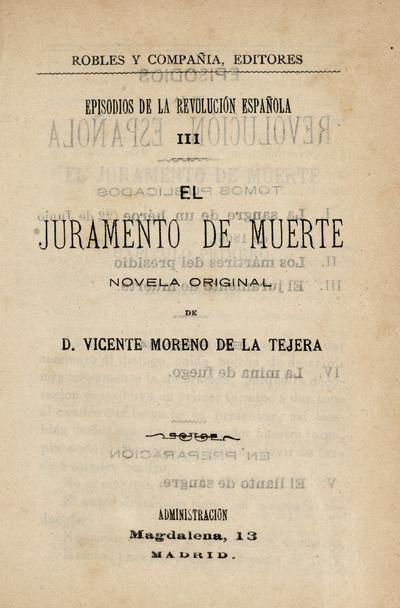 El juramento de muerte : novela original de Vicente Moreno de la Tejera