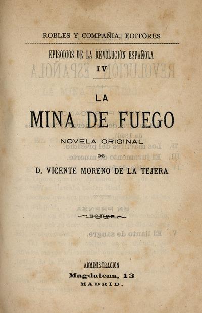 La mina de fuego : novela original de Vicente Moreno de la Tejera