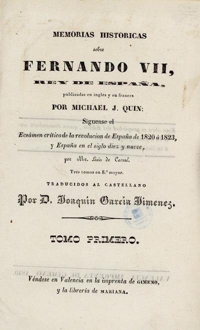 Memorias históricas sobre Fernando VII, Rey de España